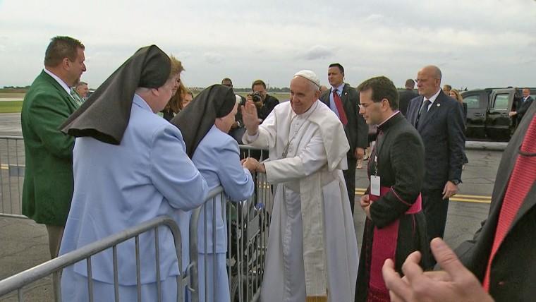 Pope Francis arrives in Philadelphia.