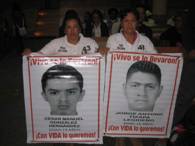 Hilda Hernández and Hilda Legideño are two mothers of the 43 missing students in Mexico who have come to the U.S. during the Pope's visit.