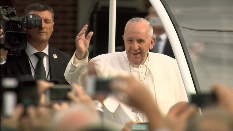 Pope Francis arrives in Independence Square in Philadelphia.