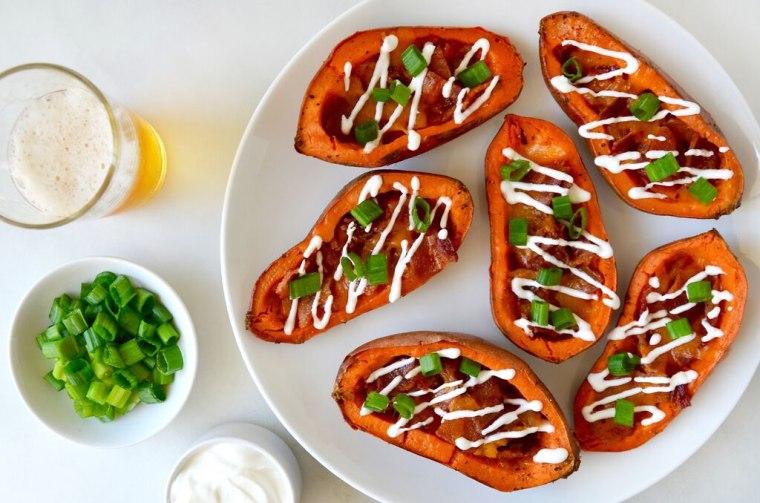 Cheesy Bacon-Loaded Sweet Potato Skins