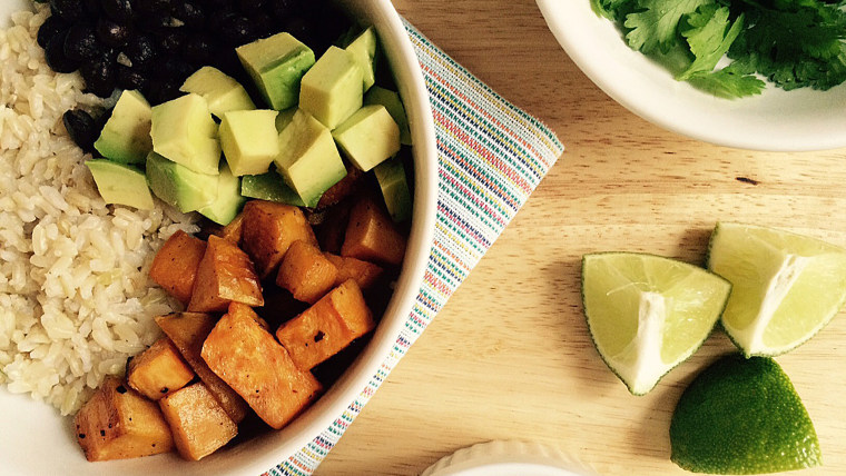 Sweet potato, avocado and black bean bowl