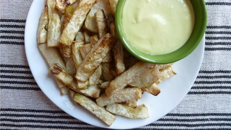 Baked Celery Root Fries with Garlic Aioli