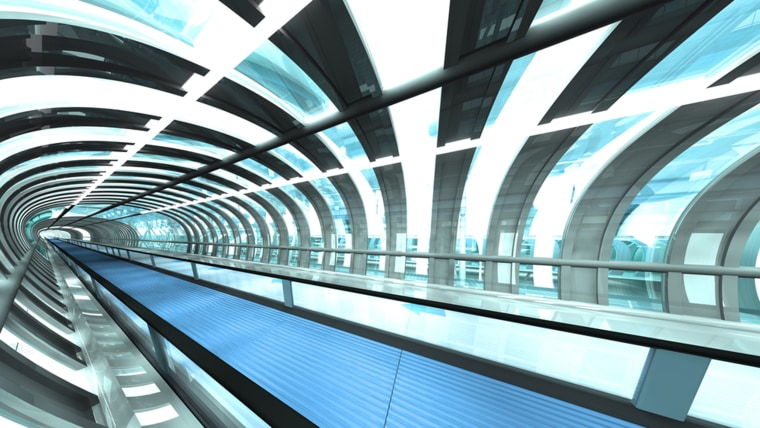 Passageway with travelator of a futuristic airport