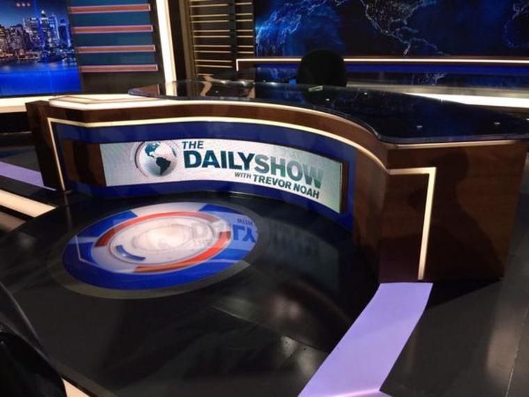 "Trevor Noah's new desk on the set of ""The Daily Show with Trevor Noah."""