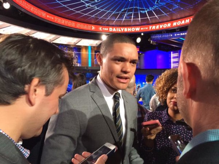 """Trevor Noah answering questions after the unveiling of his new set of """"The Daily Show."""""""