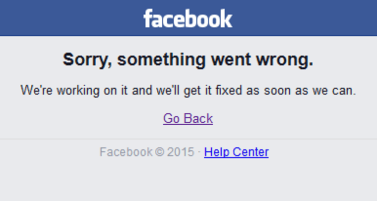 Image: Facebook error message