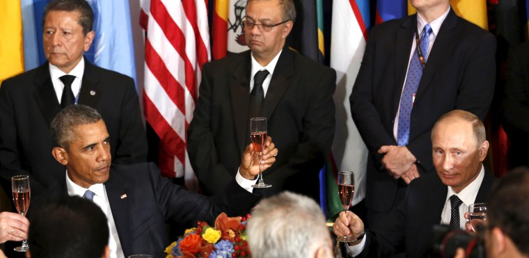 Image: Putin and Obama attend luncheon at the United Nations General Assembly in New York