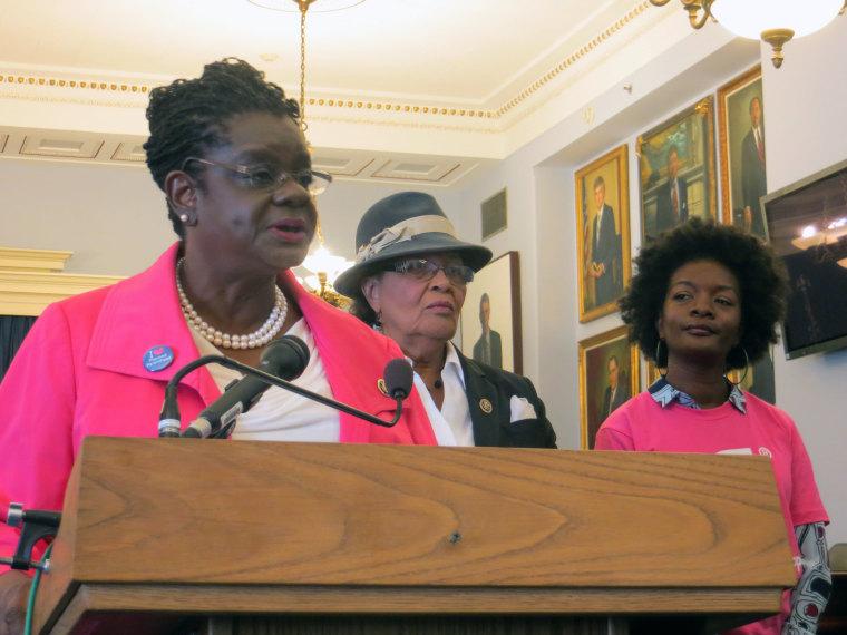Rep. Gwen Moore (D-WI), Rep. Alma Adams (D-NC) and Natarsha McQueen