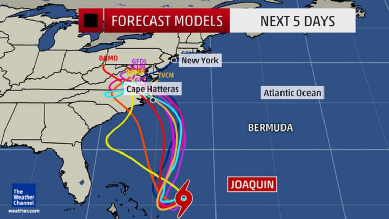 Image: Weather Channel graphic on Joaquin
