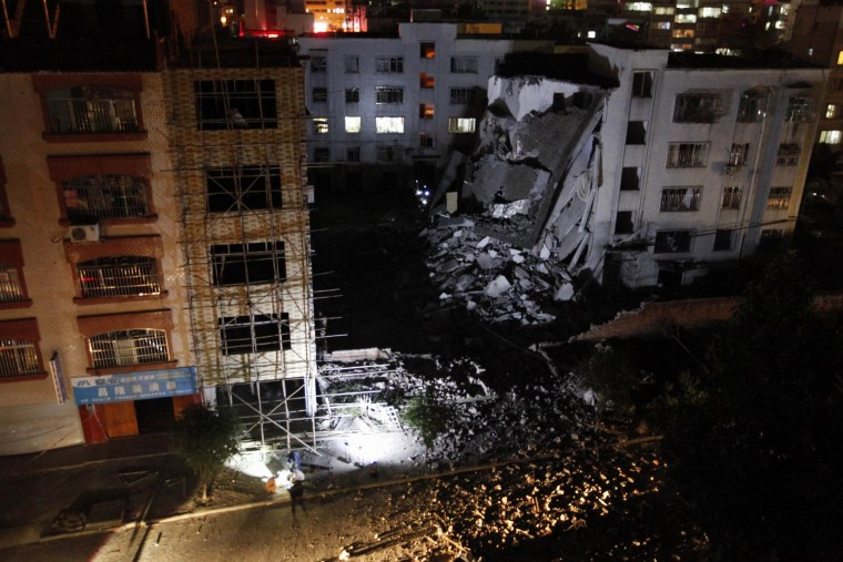 Image: Site of a series of blasts at a damaged building