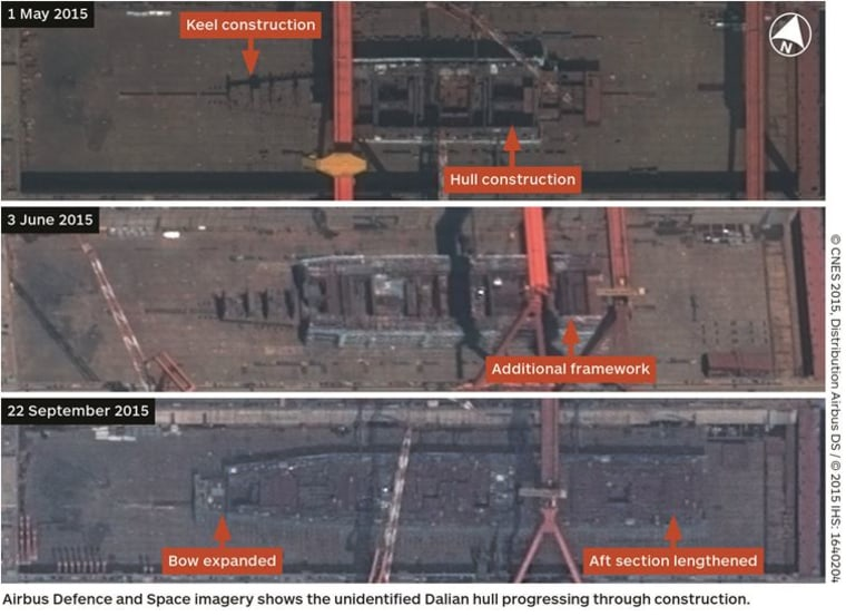 Image: New satellite images of China's northeastern city of Dalian suggests the country has begun work on its first indigenous aircraft carrier.