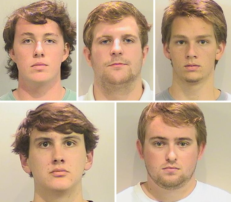 Five University of Alabama fraternity members were arrested on charges of hazing other students, officials said Sept. 30, 2015. Clockwise from left, Richard Markwalter, Colter Anderson, Mark Allen Powers, John Patrick Buckley and Hunter Lee Wagner.