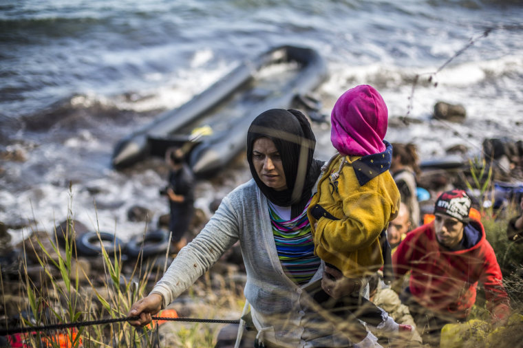 Image: Migrants Arrive On The Beaches Of Lesbos Having Made The Crossing From Turkey
