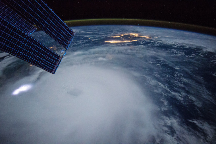 Hurricane Joaquin churns toward the Bahamas in the early morning shot captured on Oct. 2 by NASA astronaut Scott Kelly aboard the International Space Station.
