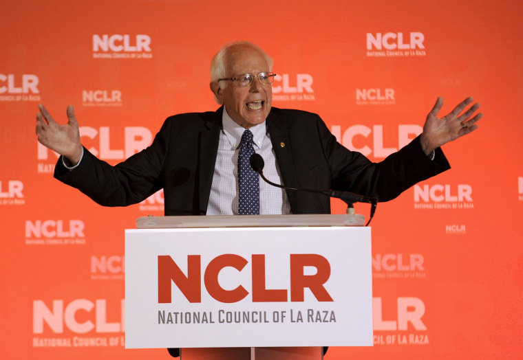 Image: U.S. Democratic Presidential candidate Sen. Bernie Sanders speaks at the National Council of La Raza conference in Kansas City