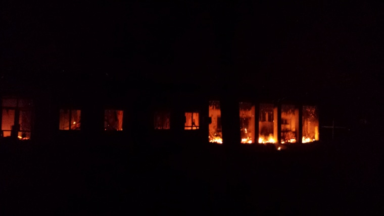 Image: Fire burns at Doctors Without Borders trauma center in Kunduz, Afghanistan