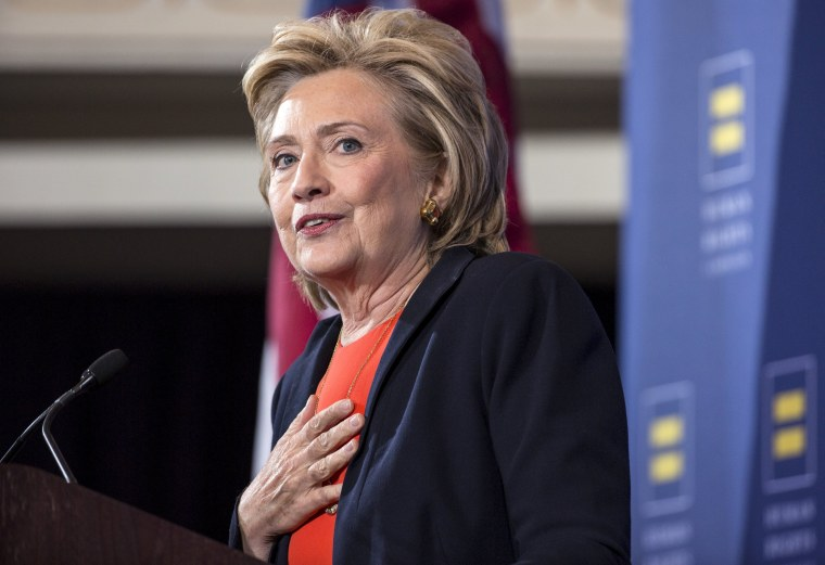 Image: Democratic presidential candidate Clinton speaks to supporters at the Human Rights Campaign in Washington