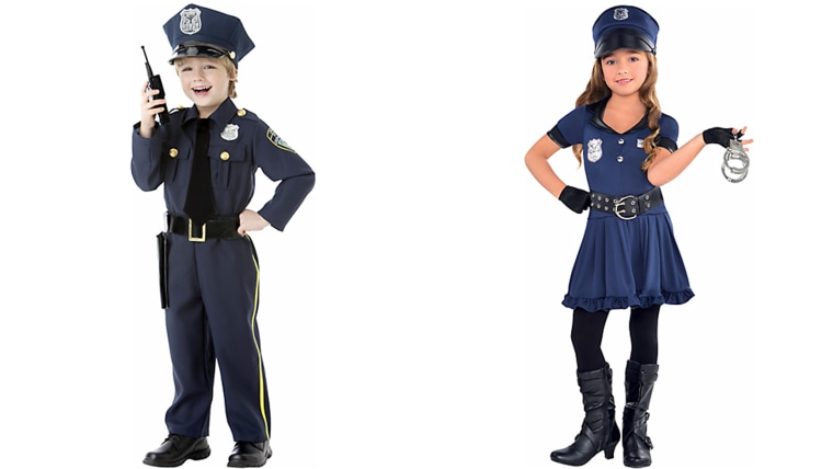 Sexist police officer kids costumes