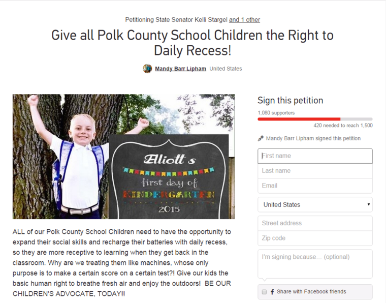 Change.org petition to bring back recess