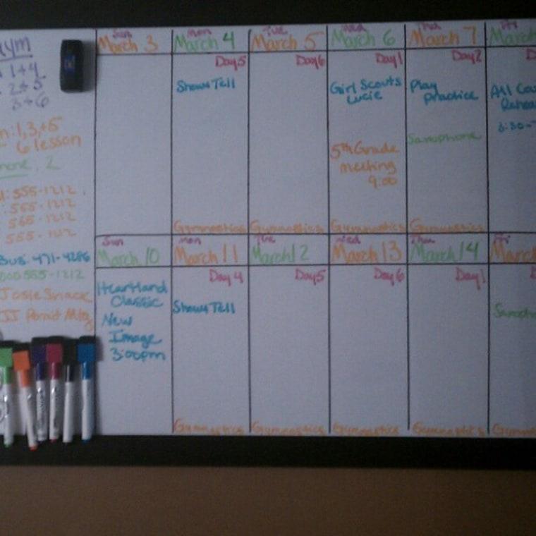 Jennifer Swartvagher's dry erase board