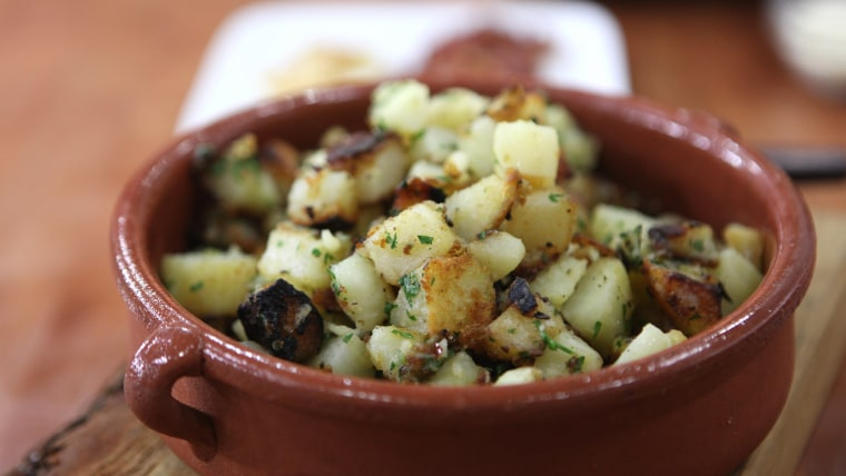 Bobby Flay's Rosemary Home Fries with Pancetta, Parmesan and Parsley