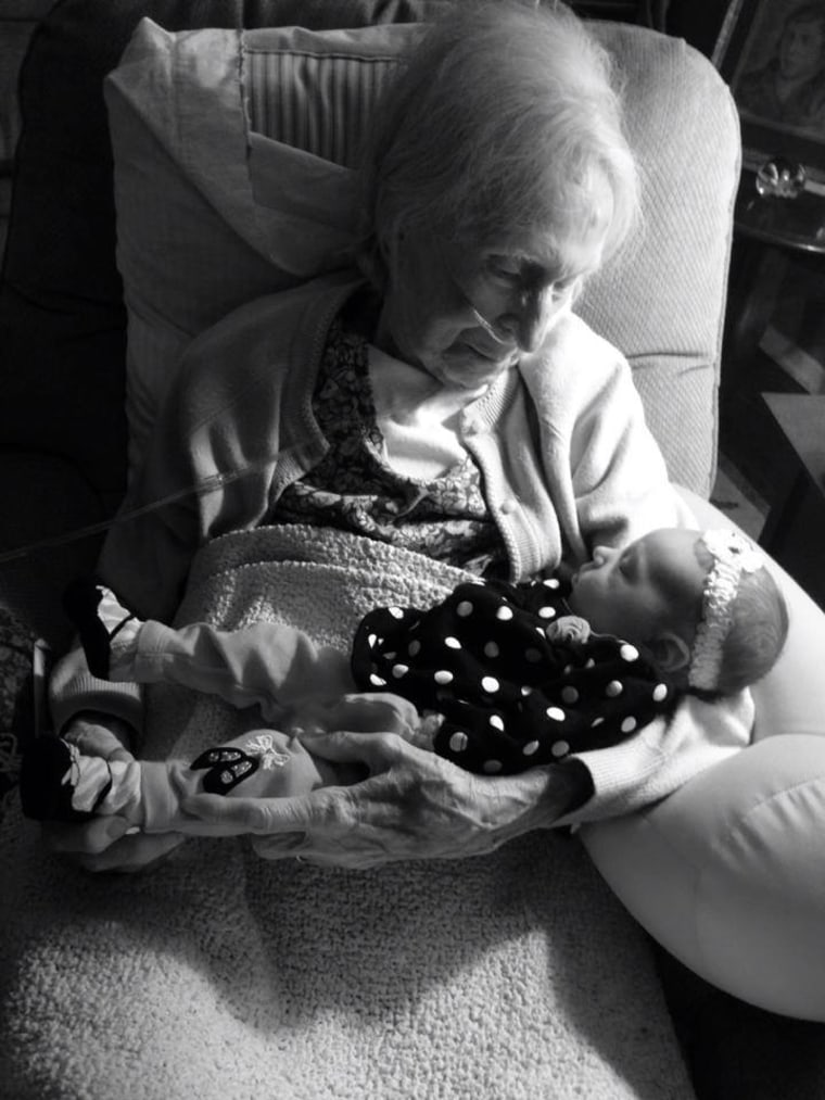 Patti Johnston Parthemore's mother meets her fourth great-grandchild, Brooklyn.