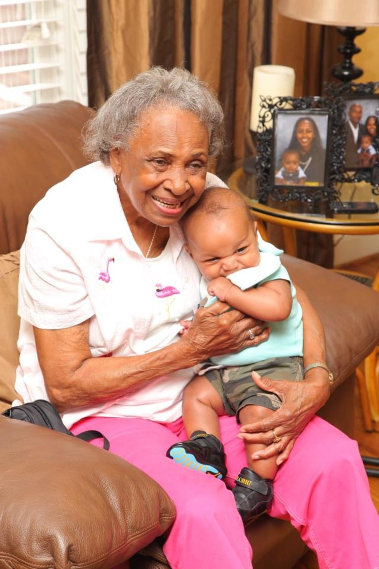 Charisse Beverly of Greensboro, North Carolina says her family drove five hours so that her 4-month-old son could meet his great-great-grandmother.