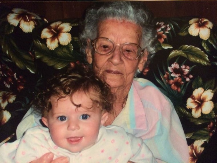 Christine Hollier Zaner shared a 2005 photo of her daughter and the baby's great-great grandmother.
