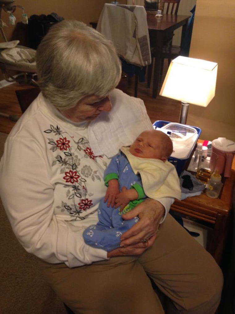 Peggy Schalk Williamson's 86-year-old mom meets one of her great grandsons.