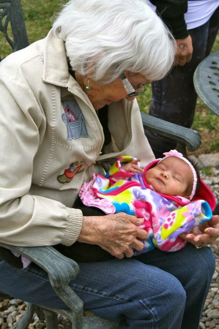 Jeannine Camarena shared this photo of her daughter meeting the newborn's great-great-grandmother.
