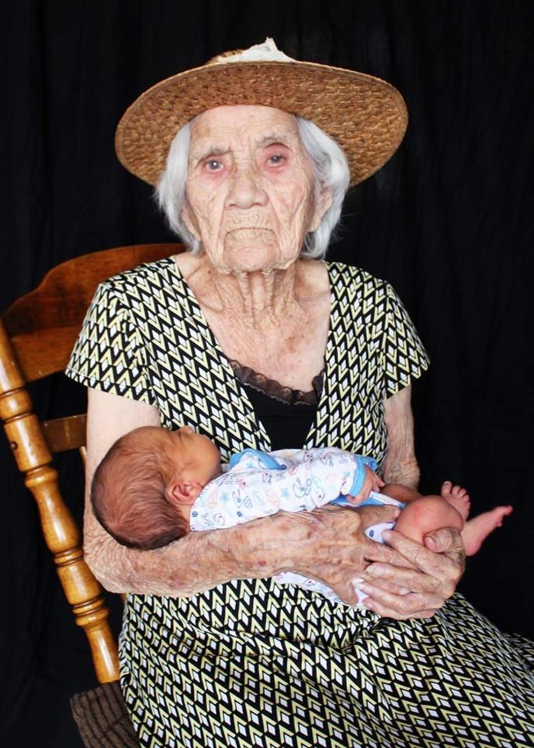 Monique Quinones says her son and his great grandmother's birth dates span more than a century.