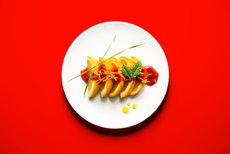 Orange Sushi with Tomato Sauce Glaze, a strange pregnancy craving