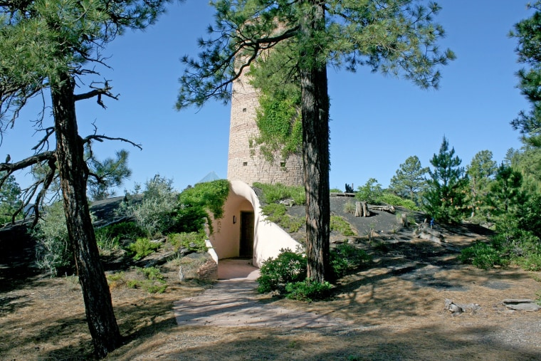 An asterisk-shaped home with an Anasazi-style tower