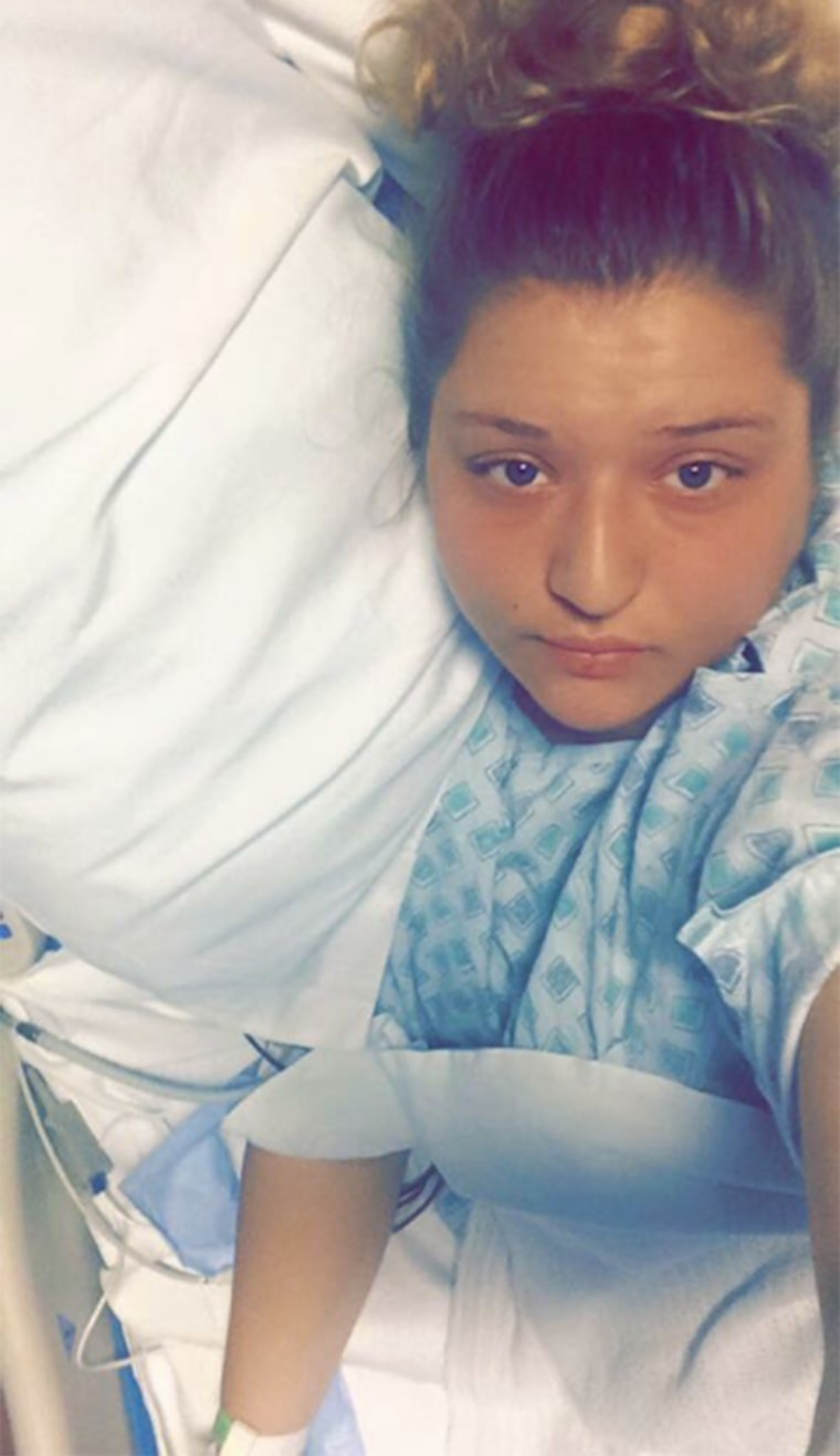 Ana Boylan takes a selfie from her hospital bed on Oct. 2.