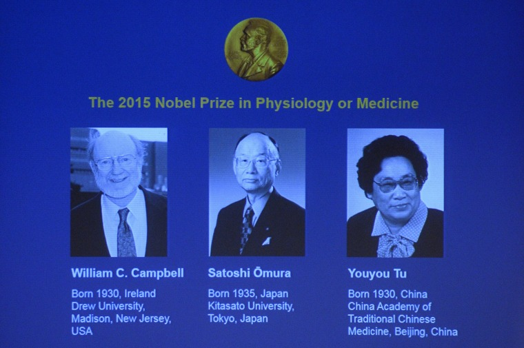 Image: The portraits of the winners of the Nobel Medicine Prize 2015