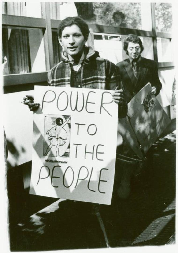 Sylvia Ray Rivera (front) and Arthur Bell at gay liberation demonstration, New York University, 1970.