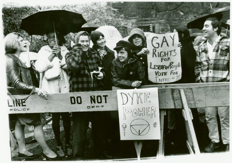 Gay rights activists Sylvia Ray Rivera, Marsha P. Johnson, Jane Vercaine, Barbara Deming, Kady Vandeurs, and Carol Grosberg at City Hall rally for gay rights.