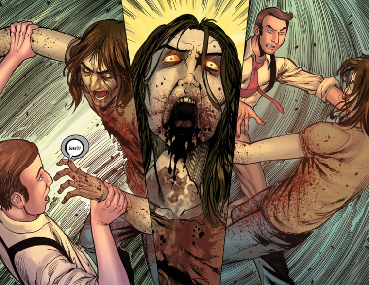 Double Take (2T) will release second wave of 10 issues of Ultimate Night of the Living Dead series on October 11. Color artwork panel from interior spread for Z-Men.