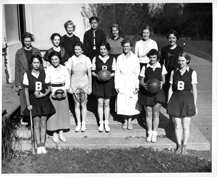 November 1934. Mortarboard 1936, p. 145. Athletic Association Board. Grace Lee Boggs is pictured in the back row, middle.