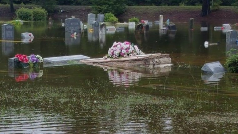 IMAGE: Casket forced from ground by S.C. floods