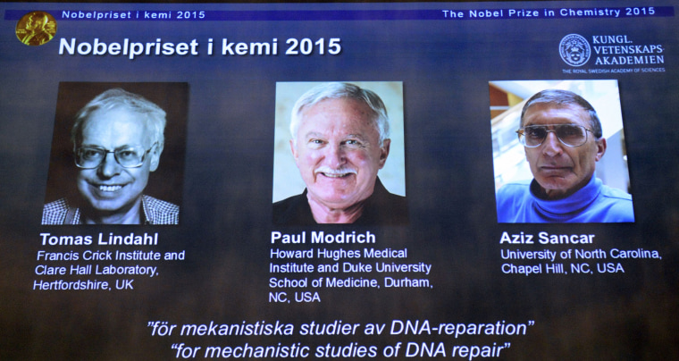Image: The portraits of the winners of the Nobel Prize in Chemistry 2015