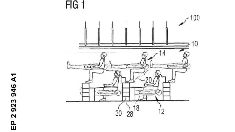 Airbus' patent application shows how the seats would recline to the sleeping position.