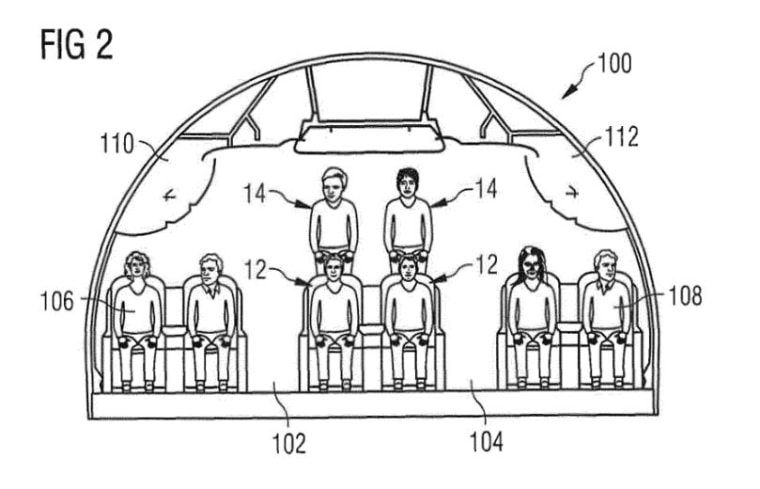 Airbus submitted this two-tiered seating layout for patent.