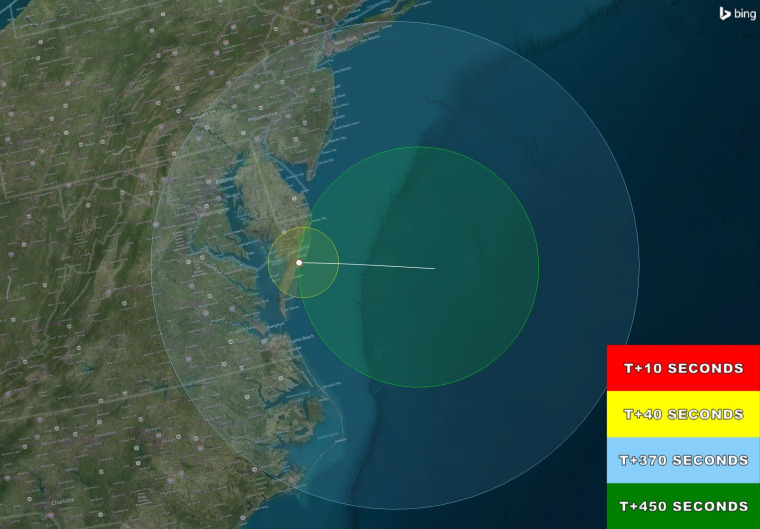 The launch should be visible for a large piece of the eastern seaboard once it gets to a sufficient height.
