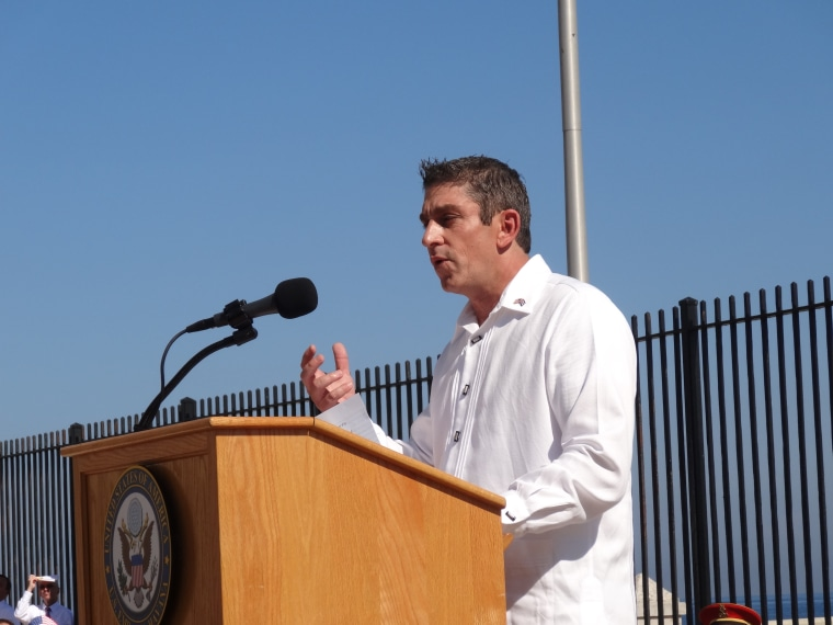 "Cuban-American poet Richard Blanco recited his poem titled ""Matters of the Sea"" on August 14, 2015, during the reopening ceremony of the U.S. embassy in Havana, Cuba."
