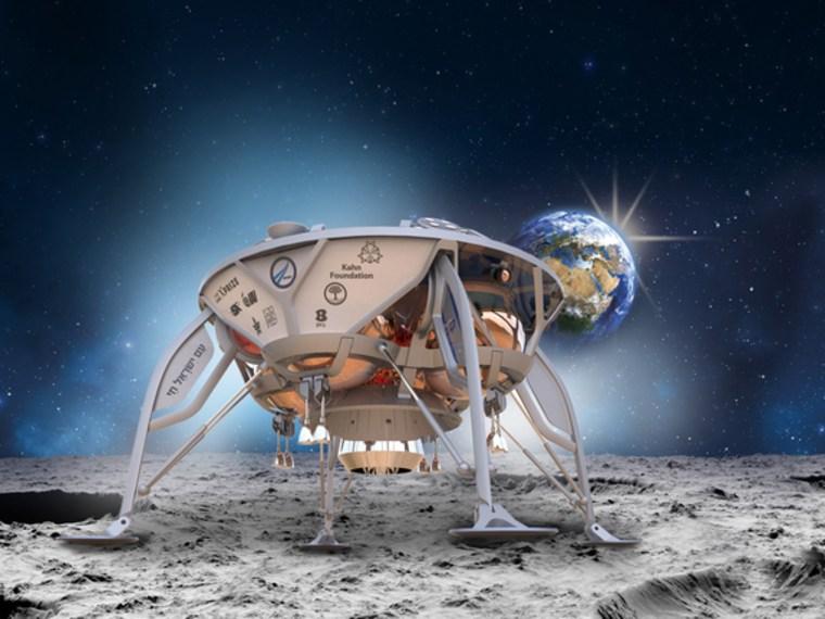 Image: Artist's illustration of SpaceIL's lunar lander