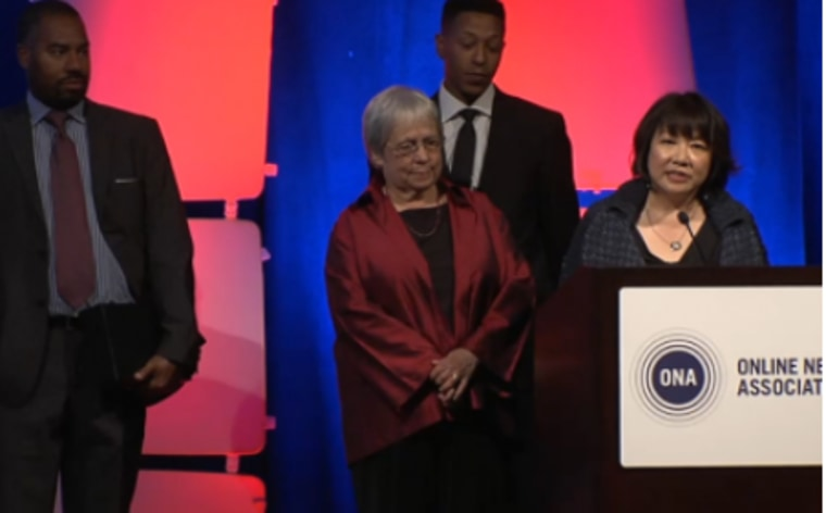 Evelyn Hsu speaks at the 2015 Online News Association Conference in Los Angeles, joined by the Maynard family.