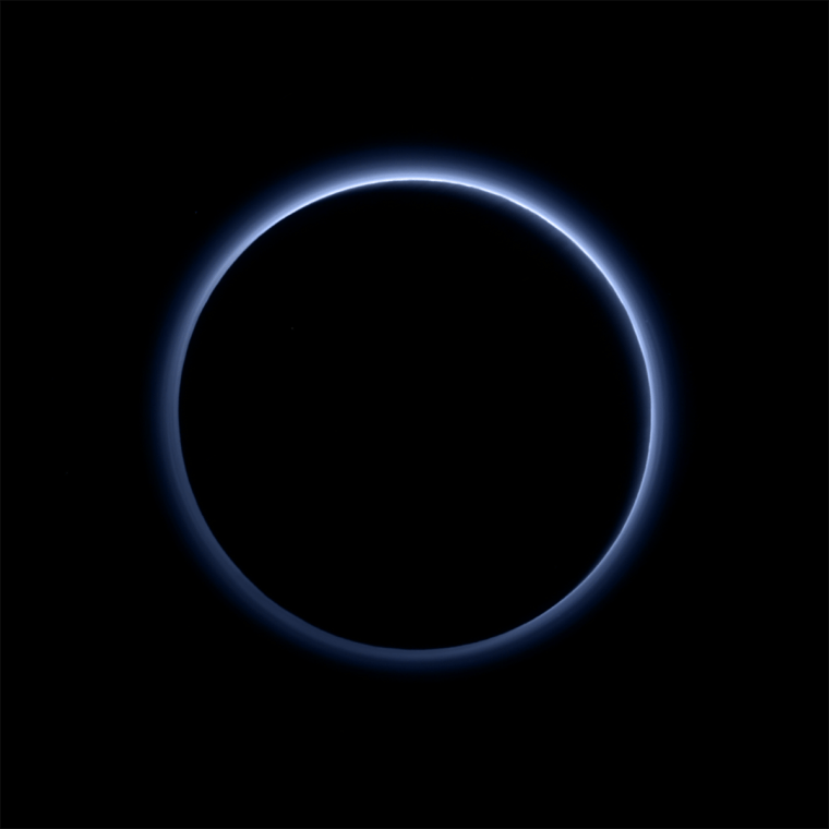 Pluto's haze layer shows its blue color in this picture t