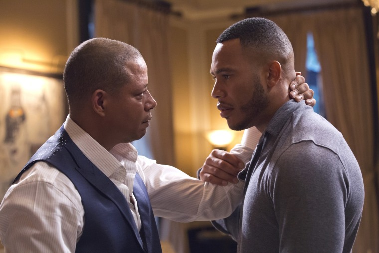 """From left, Terrence Howard as Lucious Lyon and Trai Byers as Andre Lyon in the """"Fires of Heaven"""" episode of """"Empire."""""""