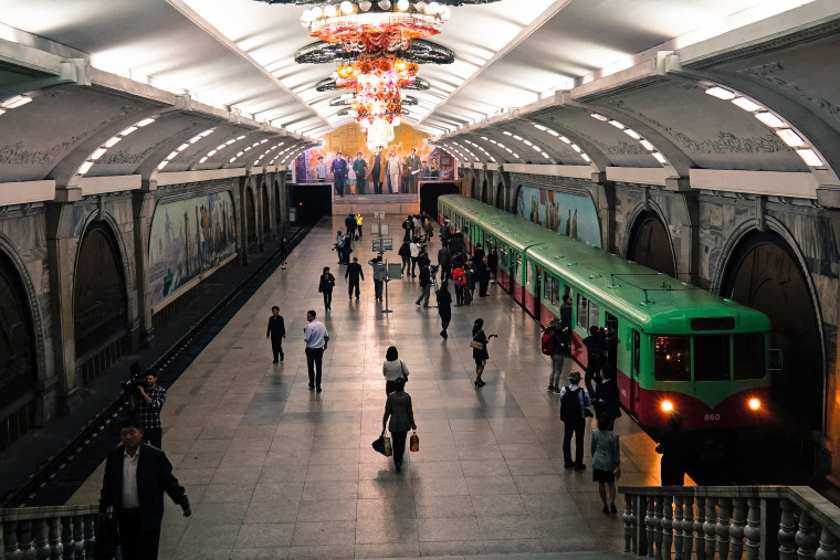 A subway train pulls into Yonggwang Station in Pyongyang on Oct. 9.
